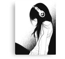 Emo Girl and her music  Canvas Print