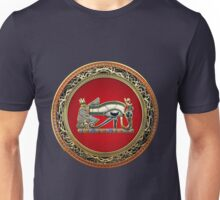 The Eye of Horus in Gold on Red  Unisex T-Shirt