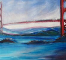 San Fransisco Golden Gate Bridge painting Sticker