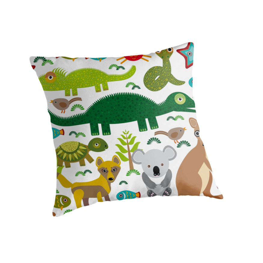 Australian Animals Koala, Snake, Turtle, Crocodile, Kangaroo, Dingo Throw Pillow
