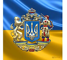 Ukraine: Proposed Greater Coat of Arms & Flag Photographic Print