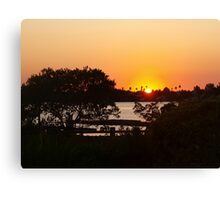 Sunset above the railing Canvas Print
