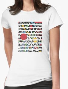 Ticker Tape Geometric Design Womens Fitted T-Shirt