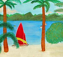 Tropical Beach View of a Virgin Island by Serenethos