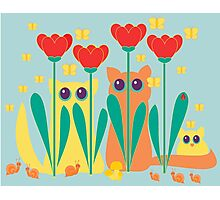 Rabble Of Butterflies In Tulip Garden Photographic Print