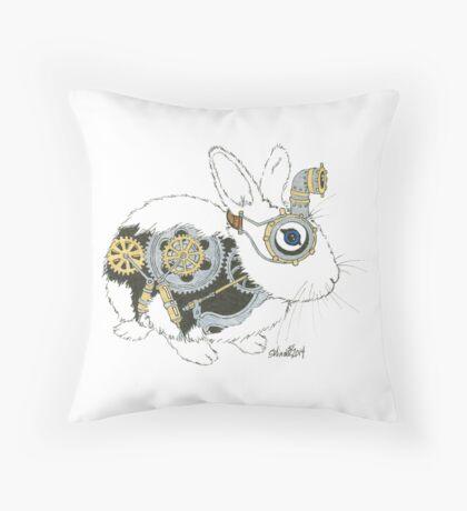 Daily Doodle 33 - Robot - Steampunk Bunny -Elvis Throw Pillow
