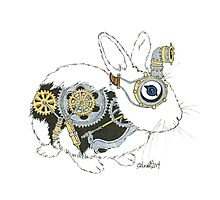 Daily Doodle 33 - Robot - Steampunk Bunny -Elvis Photographic Print