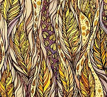 Autumn Dreams.Hand draw  ink and pen, Watercolor, on textured paper by Sviatlana Kandybovich