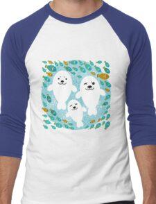 White cute fur seal and fish in water Men's Baseball ¾ T-Shirt