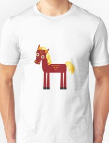 Brown horse on blue floral background Unisex T-Shirt
