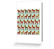 Brown horse on blue floral background Greeting Card
