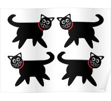 4 Black Cats in Red Collars Poster
