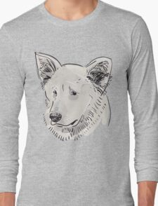 Shepherd. Sketch drawing. Black contour on a purple grunge background. Long Sleeve T-Shirt