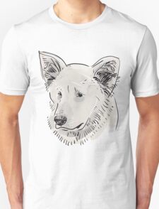 Shepherd. Sketch drawing. Black contour on a purple grunge background. Unisex T-Shirt