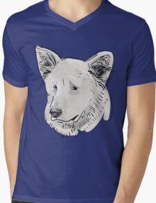 Shepherd. Sketch drawing. Black contour on a purple grunge background. Mens V-Neck T-Shirt