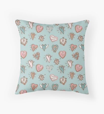 pattern with hearts. Blue, pink, brown Throw Pillow