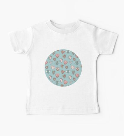 pattern with hearts. Blue, pink, brown Baby Tee