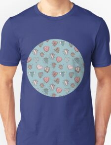 pattern with hearts. Blue, pink, brown T-Shirt