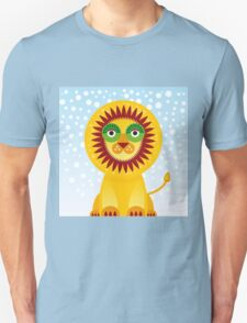 Funny cartoon lion and sky background.  Unisex T-Shirt