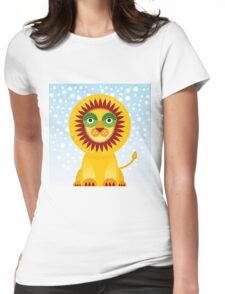 Funny cartoon lion and sky background.  Womens Fitted T-Shirt