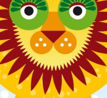 Funny cartoon lion and sky background.  Sticker
