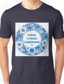 Porta itineri longissima. blue flowers and leaves  Unisex T-Shirt