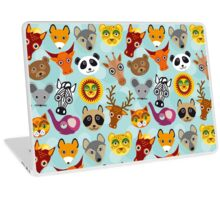 funny animal on blue background Laptop Skin