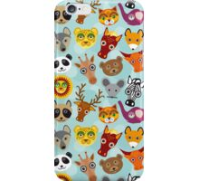 funny animal on blue background iPhone Case/Skin