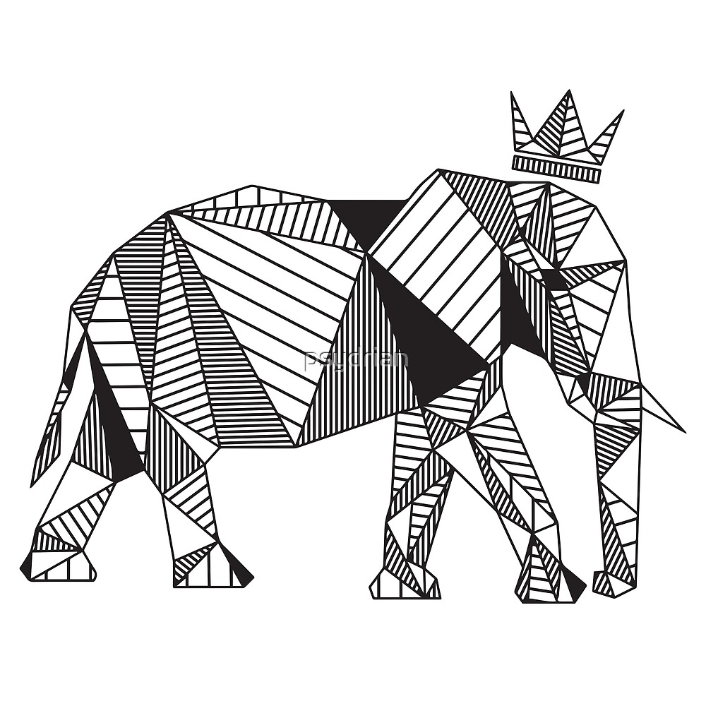 """Geometric Elephant"" by psydrian 