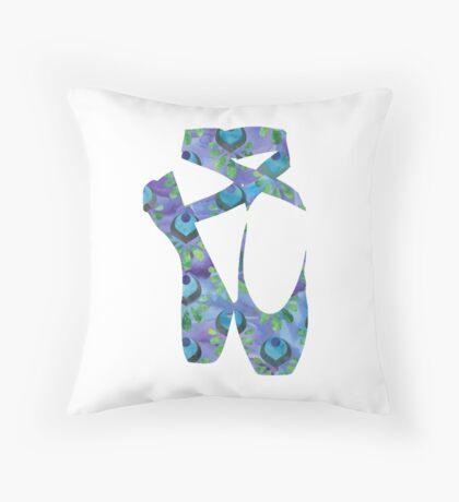 Peacock Blue Ballet Shoes Throw Pillow