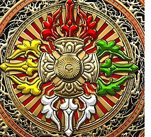 Tibetan Double Dorje Mandala - Double Vajra  by Serge Averbukh