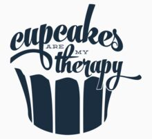 Cupcakes are my therapy - navy on cream Kids Tee