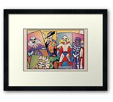 Skull-Headed Heroes Framed Print