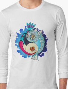 Paint-Splattered Aquatic Yin Yang - Gyarados & Milotic Long Sleeve T-Shirt