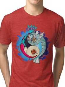 Paint-Splattered Aquatic Yin Yang - Gyarados & Milotic Tri-blend T-Shirt