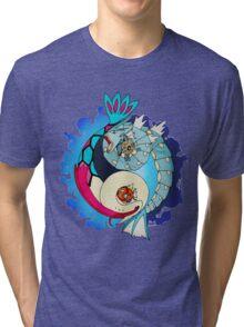 Paint-Splattered Aquatic Yin Yang - Gyarados & Milotic Tri-blend T-Shirt