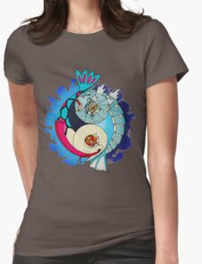Paint-Splattered Aquatic Yin Yang - Gyarados & Milotic Womens Fitted T-Shirt