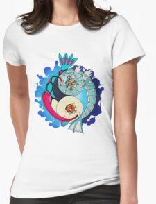 Paint-Splattered Aquatic Yin Yang - Gyarados & Milotic Womens Fitted T-Shirt