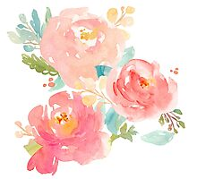 Peonies Watercolor Bouquet Photographic Print