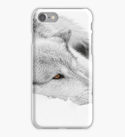 Wolf Laying in Snow iPhone Case/Skin