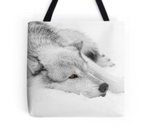 Wolf Laying in Snow Tote Bag