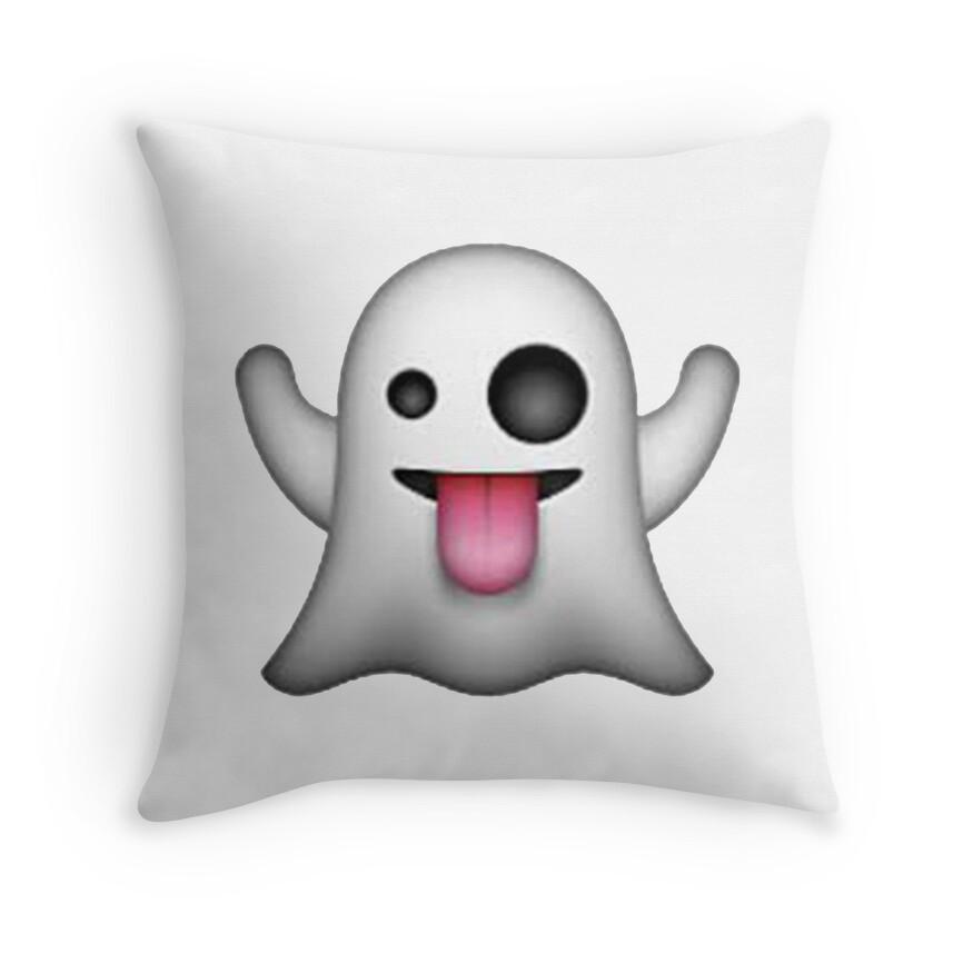 Throw Pillows Elegant : Ghost Emoji: Throw Pillows Redbubble