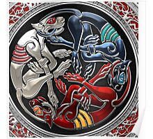 Celtic Treasures - Three Dogs on Silver and Black Velvet Poster