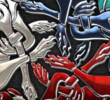 Celtic Treasures - Three Dogs on Silver and Black Velvet Sticker
