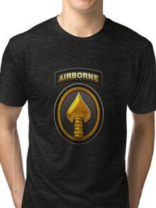 U.S. Special Operations Command - USSOCOM Patch 3D on Black Velvet Tri-blend T-Shirt