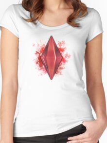 Red Plumbbob Grunge Women's Fitted Scoop T-Shirt