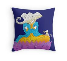Ganesh on Lotus with Mouse Throw Pillow