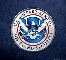 Department of Homeland Security - DHS Emblem 3D on Blue Velvet by Serge Averbukh