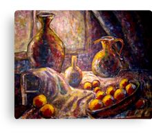 still life with light and fruits Canvas Print
