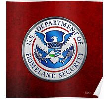 Department of Homeland Security - DHS Emblem 3D on Red Velvet Poster